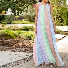 Vestido de lunares de color combinado fruncido de cuello haler con cordon