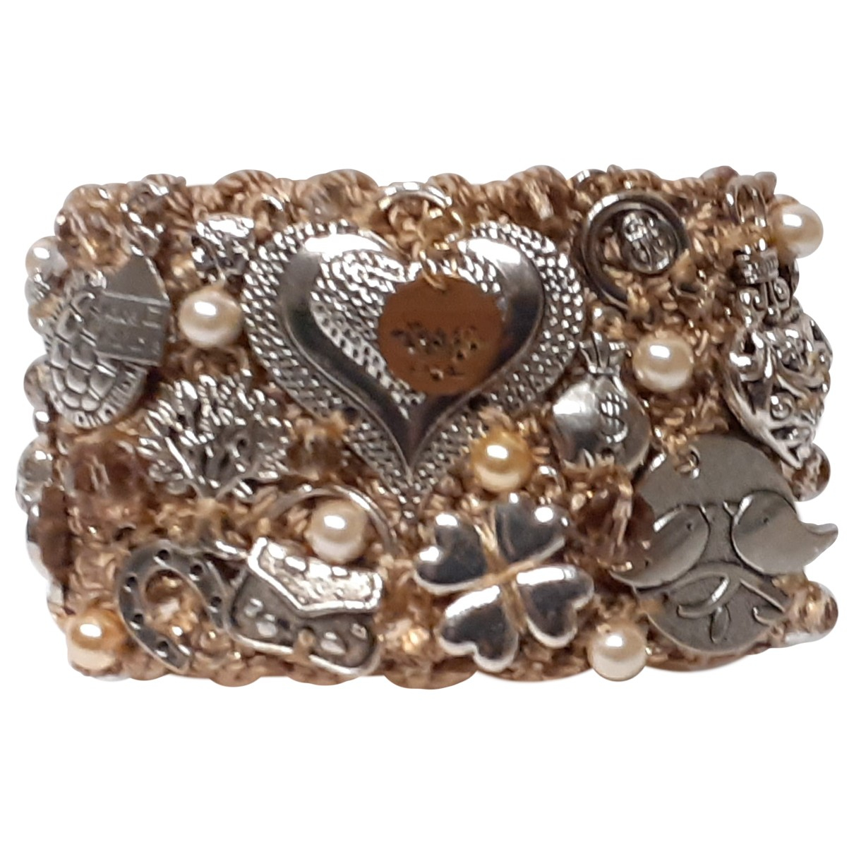 Non Signé / Unsigned N Beige Metal bracelet for Women N