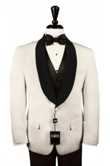 Mens Custom Black Satin Shawl Lapels on Ivory Jacket