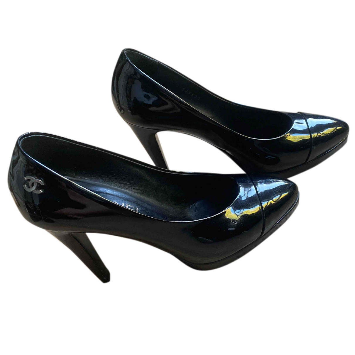 Chanel N Black Patent leather Heels for Women 38 EU