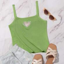 Heart Patched Knit Top