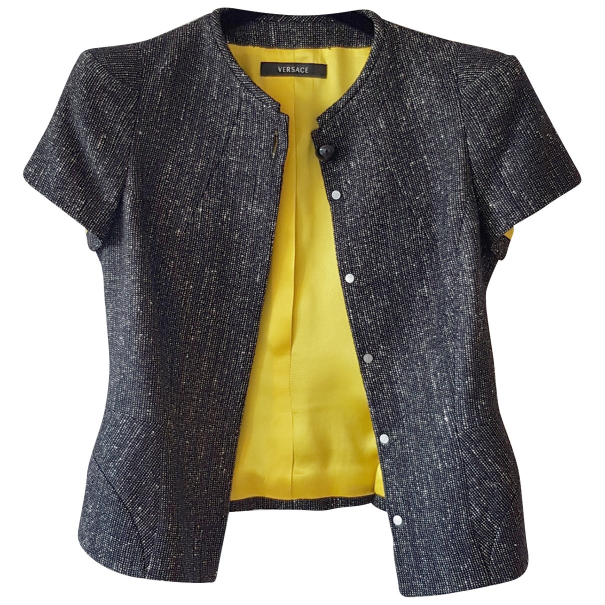 Versace - Veste   pour femme en laine - anthracite
