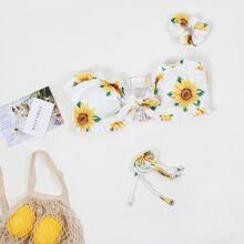 Bandeau Bikini Top mit Sonnenblumen Muster & Haargummis