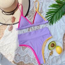 Dreieckiger Bikini Badeanzug mit Kontrast Bindung
