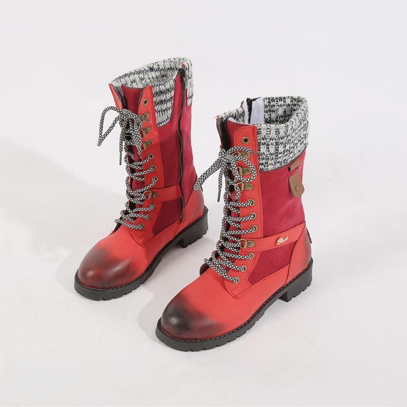 Ericdress Block Heel Patchwork Side Zipper PU Boots