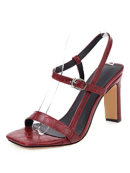 Milanoo High Heel Sandals Womens Strappy Open Toe Slingback Chunky Heel Sandals