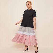 Kleid mit Farbblock und Schosschensaum