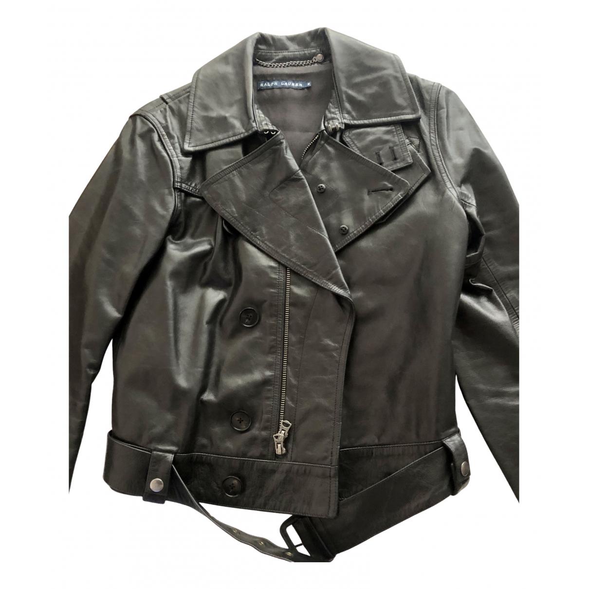 Ralph Lauren - Veste   pour femme en cuir - noir