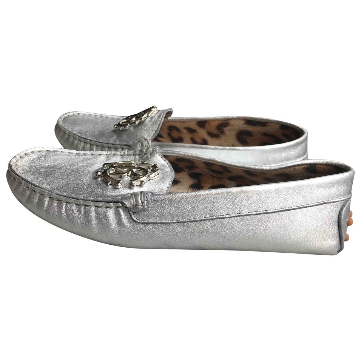 Roberto Cavalli \N Silver Leather Flats for Women 36 EU