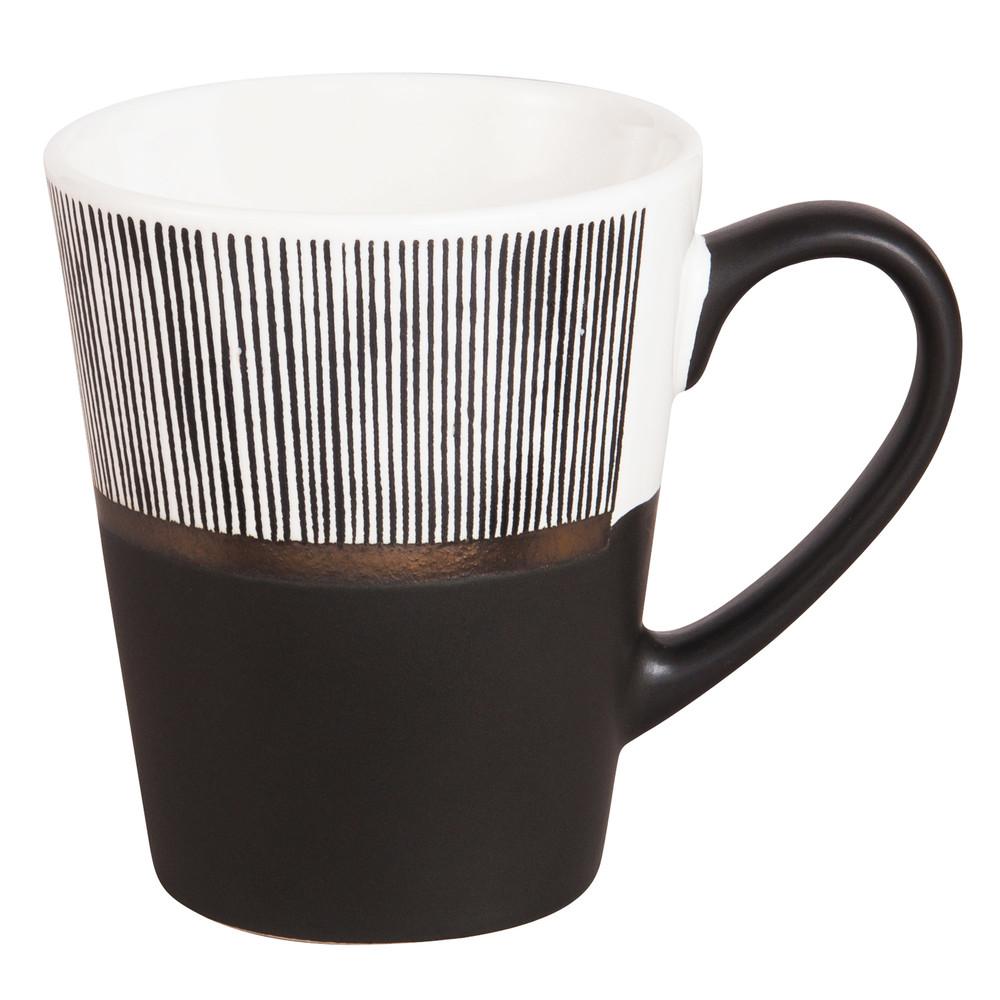 Tasse aus Keramik in Weiss und Schwarz mit Streifenmuster