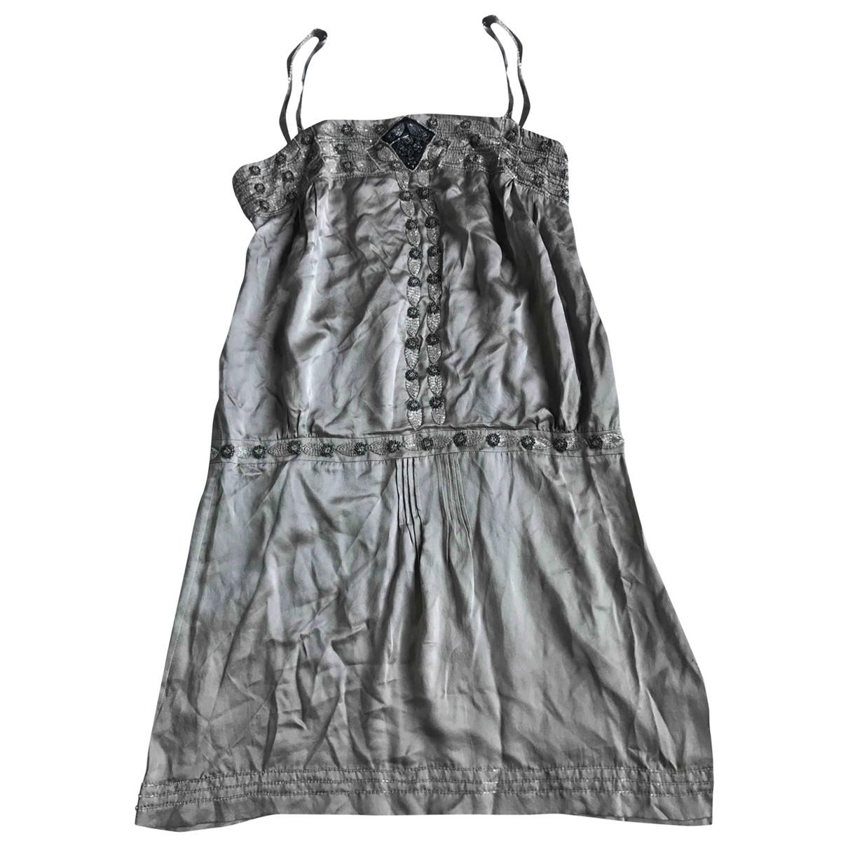 Massimo Dutti \N Kleid in  Grau Seide