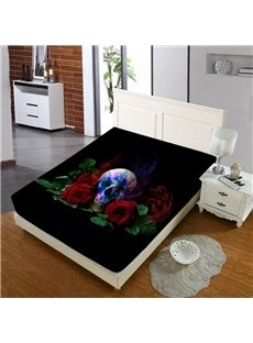 A Skull Among Red Roses Reactive Printing 1-Piece Polyester Bed Cover / Mattress Cover