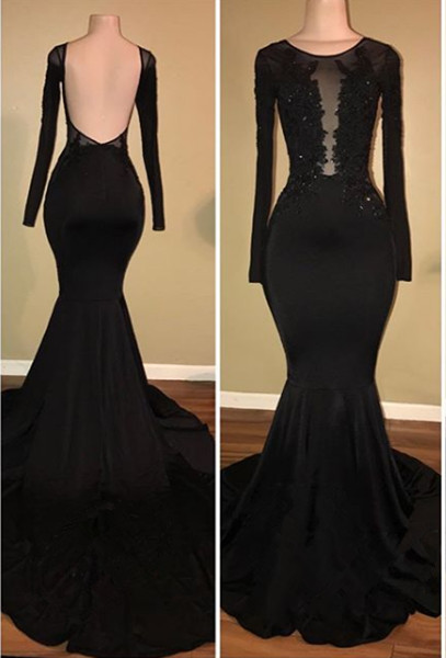 Sexy Black Mermaid Prom Dress Long Sleeve With Lace Appliques BA7880