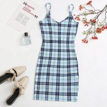 Tartan Print Bodycon Cami Dress