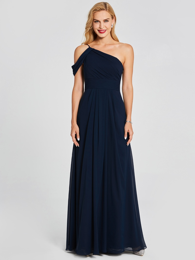 Ericdress One Shoulder A Line Long Bridesmaid Dress