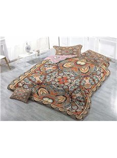 Ornamental Pattern Wear-resistant Breathable High Quality 60s Cotton 4-Piece 3D Bedding Sets