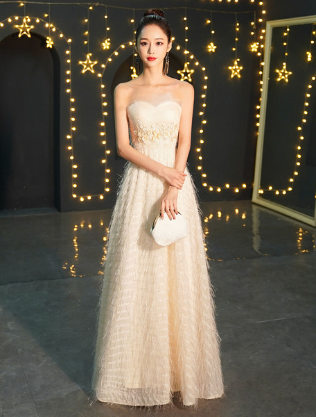 Milanoo Evening Dresses Champagne Long Prom Dress Strapless Applique Maxi Formal Gowns