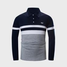 Men Striped Half Placket Embroidery Polo Shirt