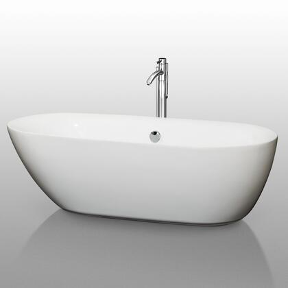 WCOBT100071 71 in. Center Drain Soaking Tub in White with Chrome