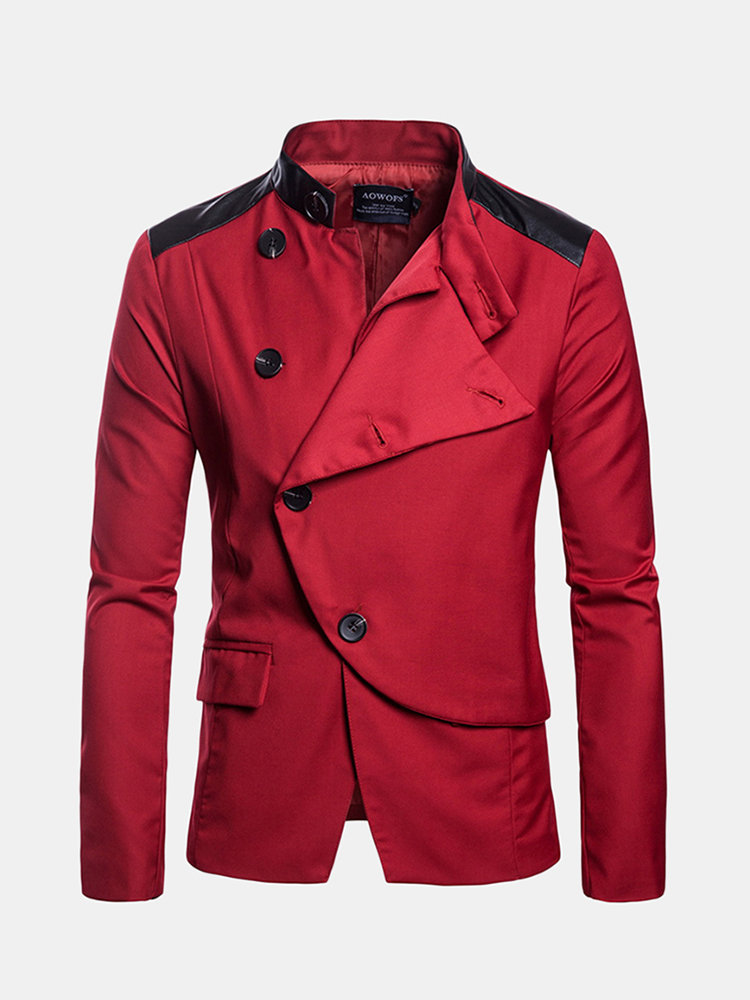 Stylish Business Big Button Featured Front Stand Collar Solid Color Blazers for Men