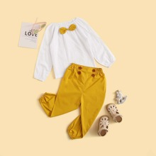 Kleinkind Maedchen Bluse mit Punkten Muster, Schleife und Hose