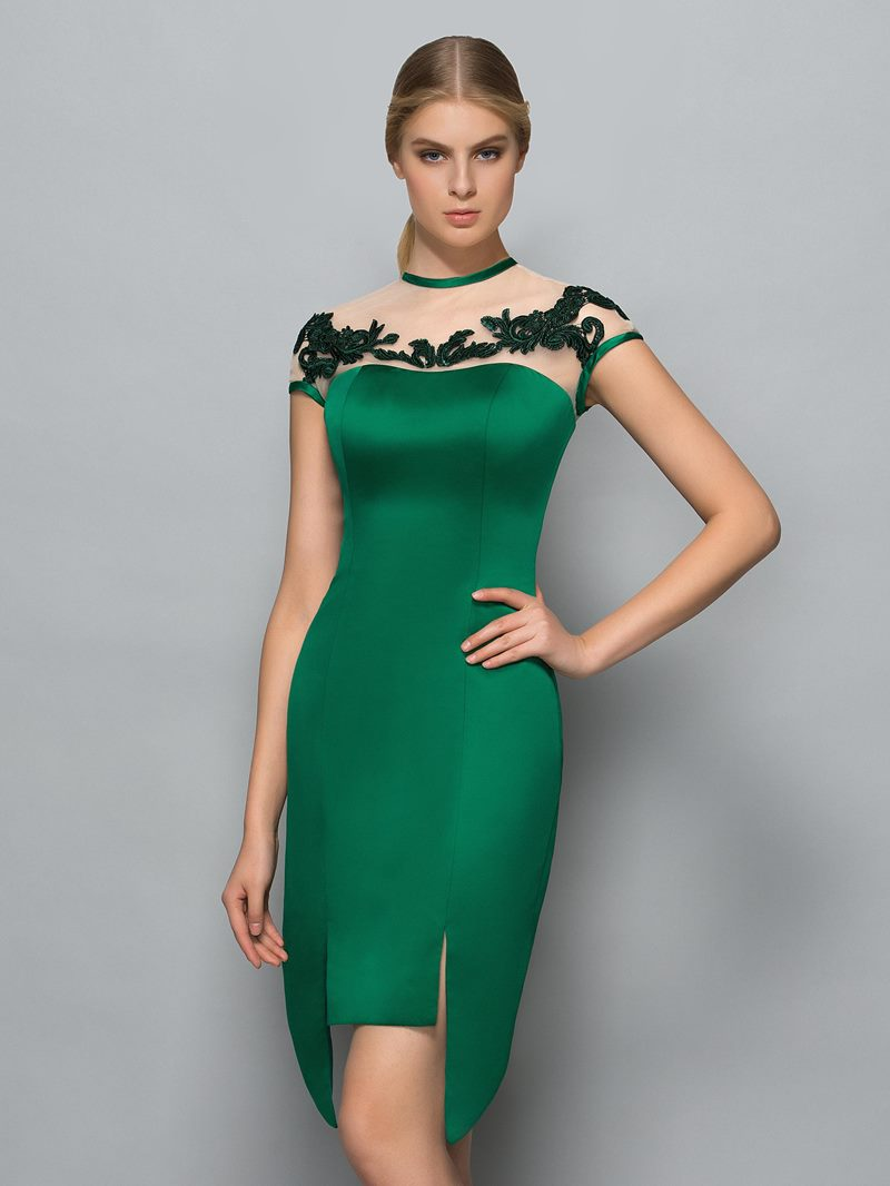 Ericdress Short Sleeves Jewel Neck Sheath Appliques Asymmetry Cocktail Dress