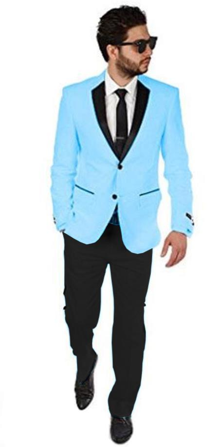 2BW2 Sky Blue with black lapel