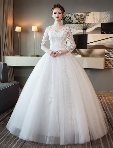 Milanoo Vestidos de novia de manga larga de encaje rebordear vestido de fiesta de tul de marfil vestido de novia de longitud de piso