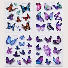 4 Blaetter Taetowierung mit Schmetterling Muster