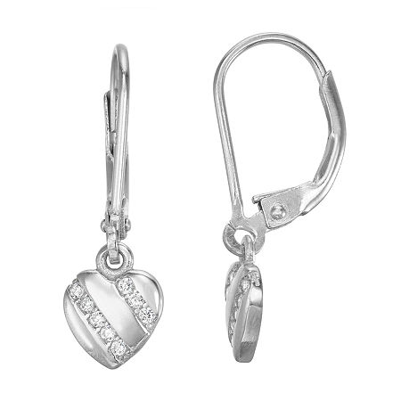 Lab Created White Cubic Zirconia Sterling Silver Heart Drop Earrings, One Size , No Color Family