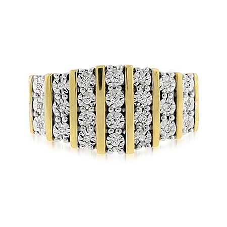 1/10 CT. T.W. Diamond 7-Row 14K Gold Over Silver Ring, 6 , No Color Family