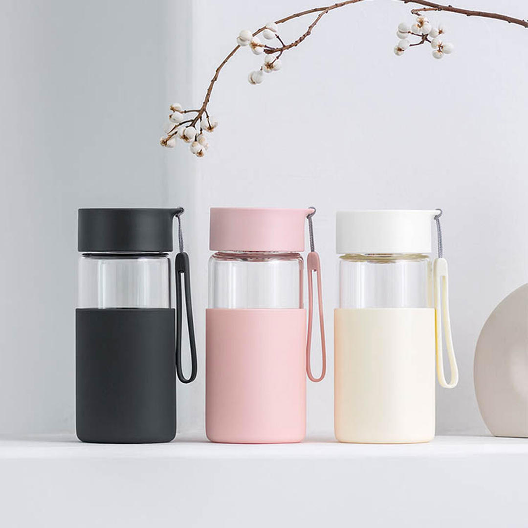 Fun Home 350ml Glass Water Bottle Insulation Vacuun Cup Drinking Mug With Silicone Cover from xiaomi youpin