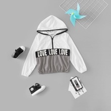 Girls Cut And Sew Letter Graphic Anorak Jacket
