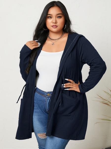 YOINS Plus Size Hooded Design Tie-up Design Long Sleeves Coat