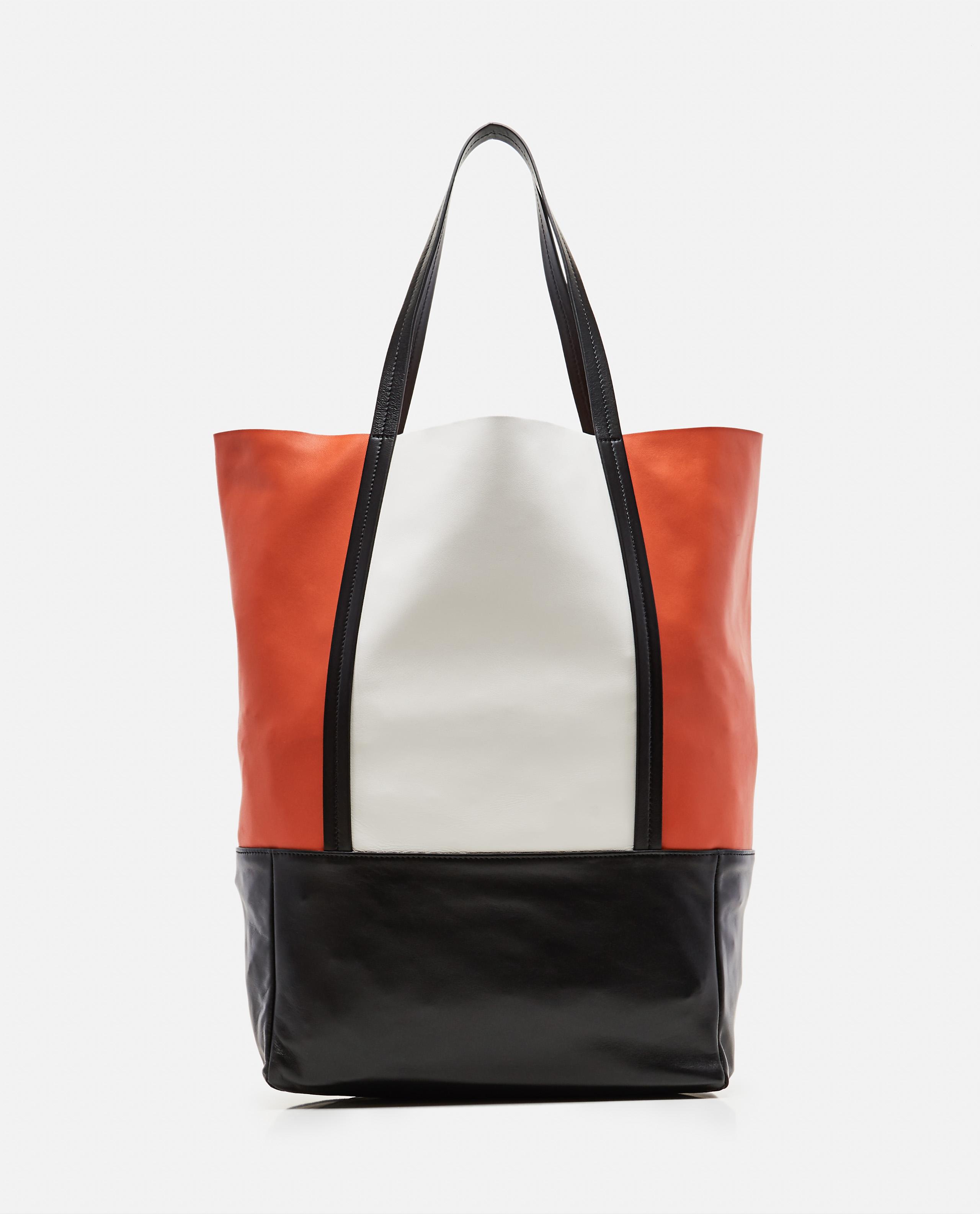 Color-Blocked Lambskin Tote Bag