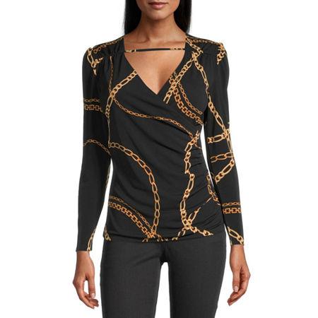 Bold Elements Womens Long Sleeve Surplice Top - Plus, Xx-large , Black