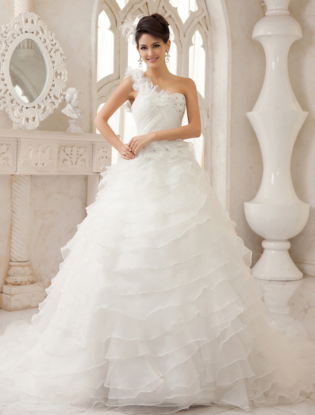 Milanoo Ivory A-line One-Shoulder Ruched Court Train Bridal Wedding Dress