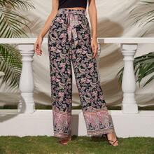 Hosen mit Paisley Muster und weitem Beinschnitt