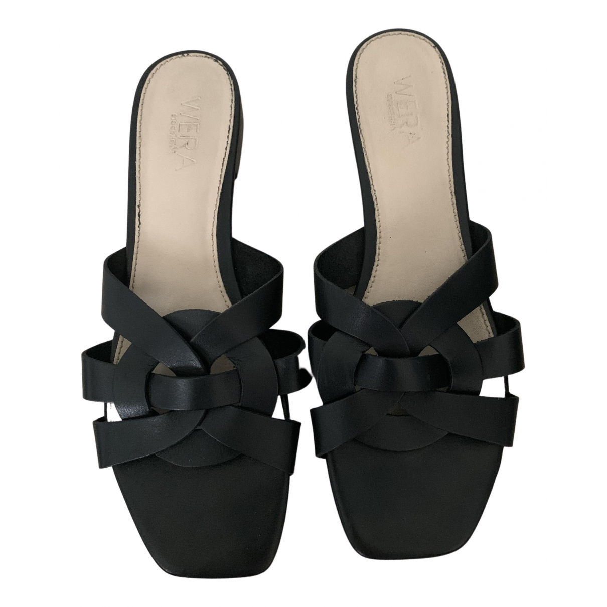 Non Signé / Unsigned N Black Leather Sandals for Women 41 EU