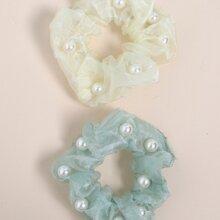 2 piezas goma de pelo con perla artificial