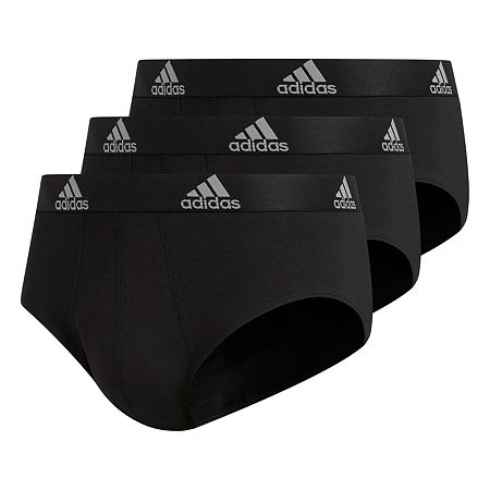 adidas 3-Pair Performance Stretch Cotton Briefs, Small , Black
