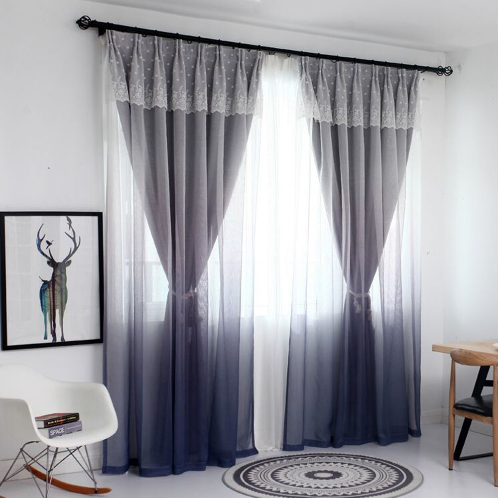 Princess Style Color Gradient Blackout Curtain Sets for Living Room Custom 2 Panels Drapes No Pilling No Fading No off-lining