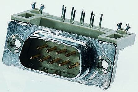 Provertha TMC Series, 15 Way Right Angle Through Hole PCB D-sub Connector Plug, 2.84mm Pitch, with 4-40 UNC inserts,