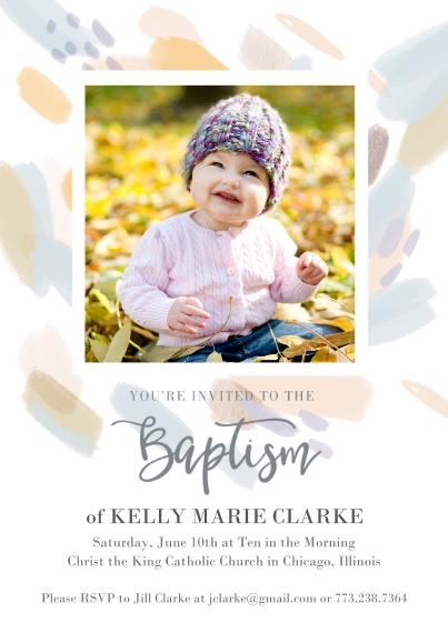 Baptism Invitations 5x7 Cards, Premium Cardstock 120lb with Elegant Corners, Card & Stationery -Color Smudge