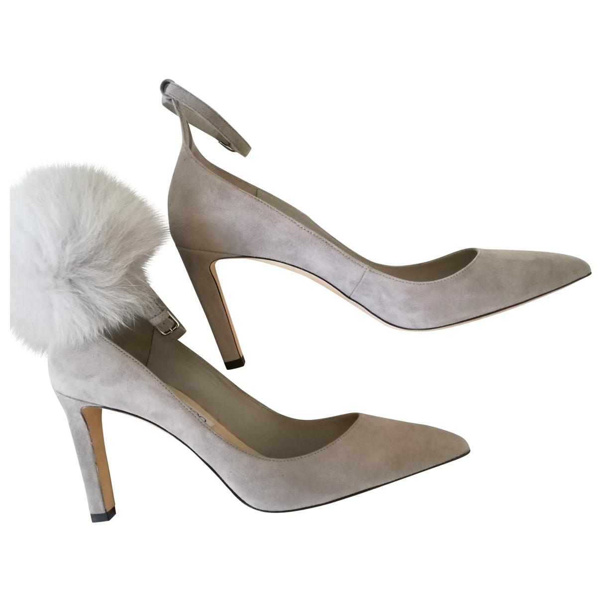 Jimmy Choo Lark ankle strap pump Grey Suede Heels for Women 40 IT