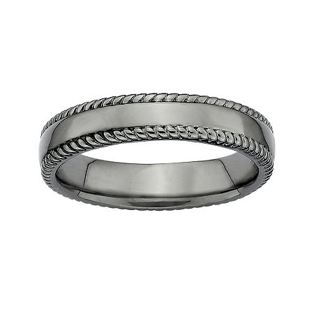 Personally Stackable Black Sterling Silver 1.5mm Milgrain-Edge Band Ring, 7 , No Color Family