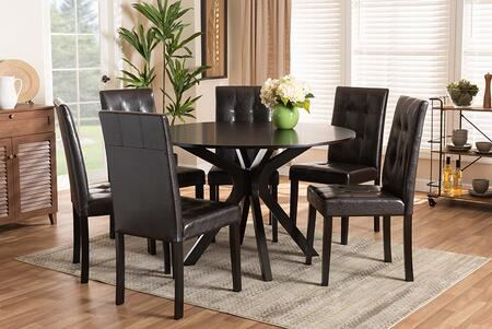 MARIE-DARK BROWN-7PC DINING SET Marie Modern and Contemporary Dark Brown Faux Leather Upholstered and Dark brown Finished Wood 7-Piece Dining