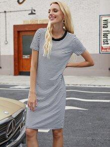 Striped Short Sleeve Tee Dress