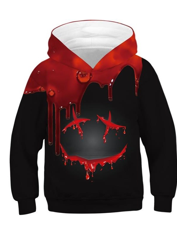 Halloween Black and Red Color Block Blood 3D Painted Long Sleeve Thick Front Pocket Kid's Hoodies