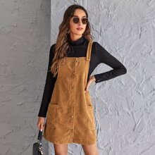 Cord Kleid mit Taschen Flicken und Knopfen